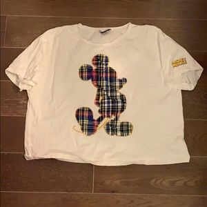 Zara Mickey plaid crop T-shirt